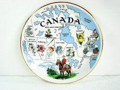 Vintage Royal Winton Angleterre côte Craft Canada Colombie-Britannique Souvenir Plaque collectables