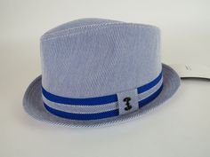 Henschel Mens Fedora Style Hat Blue and White Striped  fashion  clothing   shoes   69ebebbb9f07