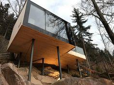 Wald Sauna, Forest Sauna, Glas, schwarz, Finnische Sauna, Porphyr Stein