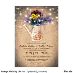Vintage Wedding | Rustic Lavender Floral Card Rustic wedding invitations featuring old vintage style paper, a garden watering can with your monogram on the side, a purple lavender flower wedding arrangement and romantic string twinkle lights.