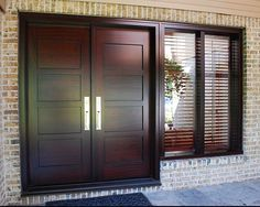 Elegant, beautiful, stylish are just what the double front doors will influence to the environment. It will make the whole area of the house becomes more double doors, double front doors, front doors Double Front Entry Doors, Double Doors Exterior, Wood Entry Doors, The Doors, Entrance Doors, Door Entry, Main Entrance Door Design, Wooden Main Door Design, Front Door Design