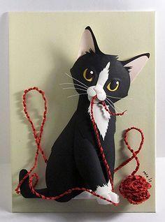 CUSTOM Kitten with a ball of yarn CAT Paper Sculpture 5x7 by Matthew Ross