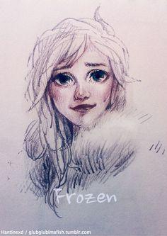Frozen: Elsa by hantinexd Character Inspiration, Character Design, Minor Character, Disney Fan Art, Disney Love, Woman Drawing, Drawing Women, Frozen Images, Frozen Drawings