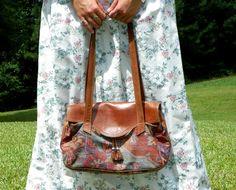1980s Vintage Brown Pleather Handbag with by Enchantedfuture, $16.00