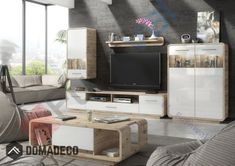 Details about skanso - oak living room tv wall unit / media entertainment center cabinet Modern Home Furniture, Living Furniture, Oak Entertainment Center, Living Room Wall Units, Tv Set Design, Tv Decor, Tv Unit, Modern Tv, Modern Wall