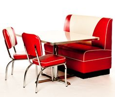 West Side Classic Retro Booth Set x Booth Seat, 1 x Booth Table and 2 x Chairs)