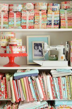 Hyperventilating! Love Camille Roskelley's fabrics! shelves by croskelley, via Flickr