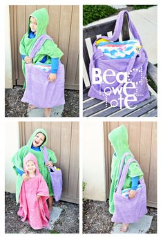 This is such a great idea--a poncho made out of a towel for kids after swimming, and a tote made out of a towel.  Quick and easy!