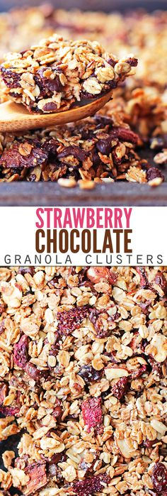 Oh my goodness, these strawberry chocolate granola clusters are SO GOOD! They're crunchy like store-bought, but the combination of strawberries […] Paleo Dessert, Healthy Dessert Recipes, Real Food Recipes, Healthy Snacks, Yummy Food, Desserts, Vegan Granola, Chocolate Granola, Chocolate Clusters