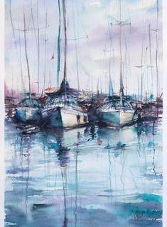 Watercolor Paper, Sailing Ships, Poland, Boat, Horses, Sky, Watercolors, Size 14, Artwork