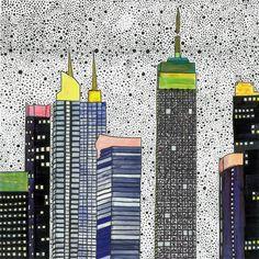 Print Illustration New York City Drawing Artwork Skyline Wall Decor Kitchen Art Kinds Bedroom Colour Print Blue Architecture Urban von paulinepolom auf Etsy