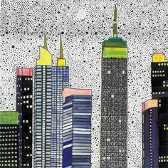 Print Illustration New York City Drawing Artwork Skyline Wall Decor Kitchen Art Kinds Bedroom Colour Print Blue Architecture Urban von paulinepolom auf Etsy