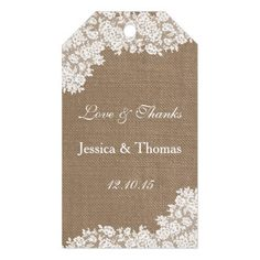 Barn Wedding Thank You The Rustic Burlap & Vintage White Lace Collection Gift Tags