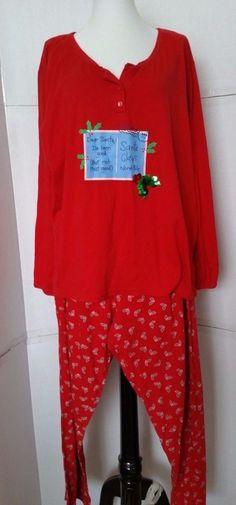Secret Treasures Red Pajama Set CHRISTMAS SANTA I've Been Good Womens Plus sz 2X #SecretTreasures #PajamaSets