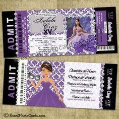 Unique Ticket Invitations, Sweet 15 Quinceanera Invitations, Sweet Sixteen Invitations