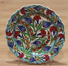 Turkish Traditional Hand made ,Hand Painted iznik Ceramic Floral Design Hanging Plates, Plates On Wall, Turkish Plates, Turkish Design, Shops, Middle East, Floral Design, Asia, Turkey