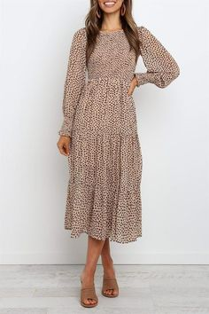 - Midi length dress - Long sleeves with shirred cuff - Round neckline - Shirred bodice - Tiered skirt - Partially lined - polyester- Cold hand wash- Size Chart Size Bust cm inch S 90 M 95 L 100 XL 105 XXL 110 115 120 125 Modest Clothing, Modest Dresses, Fall Dresses, Modest Fashion, Fashion Dresses, Dresses For Work, Elegant Dresses, Sexy Dresses, Wedding Dresses