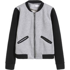 Grey Contrast Sleeve Zipper Up Baseball Jacket (68 ILS) ❤ liked on Polyvore featuring outerwear, jackets, grey, collar jacket, stand up collar jacket, grey jacket, color block jacket and stand collar jacket