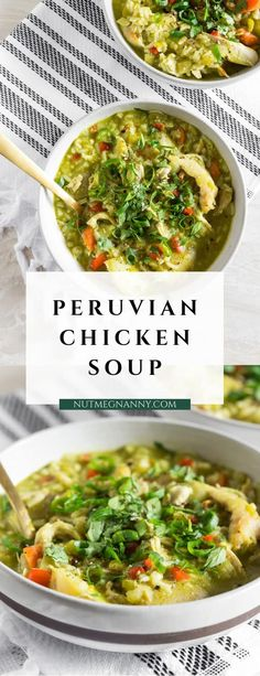 This Peruvian chicken soup (aka: aquadito de pollo) is a great weekday soup reci. - Recipes from Nutmeg Nanny - This Peruvian chicken soup (aka: aquadito de pollo) is a great weekday soup reci. - Recipes from Nutmeg Nanny - Chicken Soup Recipes, Chili Recipes, Soup With Rotisserie Chicken, Water Recipes, Peruvian Chicken, White Rice Recipes, Cilantro Chicken, Cilantro Soup Recipe, Peruvian Recipes