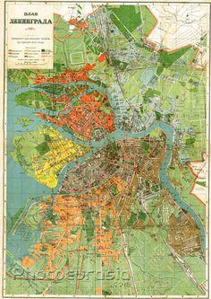 Leningrad (Saint Petersburg), city map, 1927