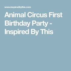 Animal Circus First Birthday Party - Inspired By This
