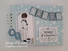 First Communion Invitations, Smash Book, Scrapbook Albums, Scrapbooks, Make It Yourself, Projects, Cards, Handmade, Block Prints