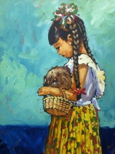 Art by Efren Gonzalez of Ajijic inside his art gallery of the same name Woman Painting, Artist Painting, Mexican Paintings, Mexican Folk Art, Oil Paintings, Piercing, Art Gallery, Mexico, Joy