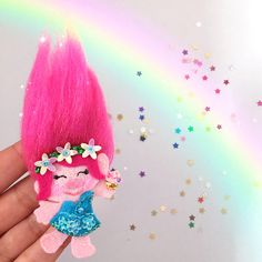 Trolls Character Inspired Princess Poppy Glitter Hair Clip
