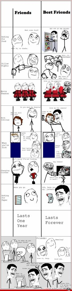 Friends VS Bestfriends - Other - Aug 3, 2012 - Rage Comics - Ragestache