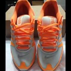 NIKE Women's Running Shox  Size 7 Gently used. In very good condition. I've only worn a few times. Color is bright citrus/ gamma grey-sail. They can be easily wiped down (shown in pics) Nike Shoes