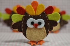 Set of 4pcs handmade felt Thanksgiving owls--chocolate (FT1008)