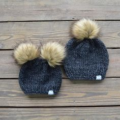 5a181653 Mommy and Me Hats, Matching Hats, Mommy and Baby Hats, Baby Fashion. Make  My Daisies · Double Pom Pom Beanies