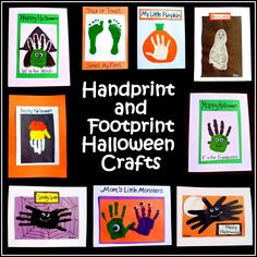 Easy Halloween Crafts: Handprint and Footprint Art Halloween Crafts for Kids Manualidades Halloween, Halloween Crafts For Kids, Halloween Activities, Halloween Projects, Halloween Art, Holidays Halloween, Halloween Themes, Fall Crafts, Holiday Crafts