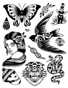 Traditional style tattoo flash / love the bird & the skull w. the beanie on