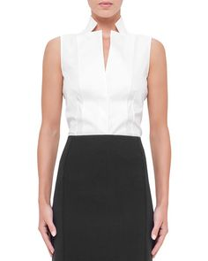 W090W Akris Sleeveless Notched Stand-Collar Blouse, White