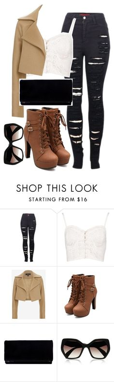 """""""Untitled #1426"""" by musicfasionbooks ❤ liked on Polyvore featuring 2LUV, Boohoo, Derek Lam, Prada, women's clothing, women, female, woman, misses and juniors"""