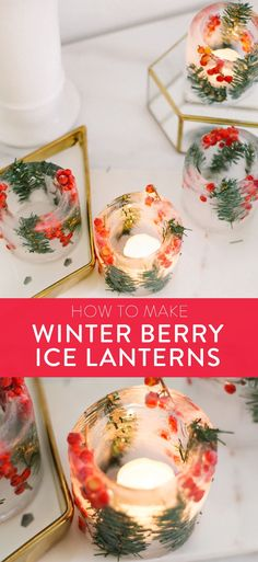 Ice ring lanterns are so beautiful for winter celebrations! Get the easy tutorial to create these pretty ice candleholders. You can make them with objects you already have in your kitchen, and a few foraged branches. They're practically free, and so pretty at weddings, receptions, front porches, and more! Perfect for Christmas or winter party ideas. Projects For Adults, Diy Crafts For Adults, Diy Projects, Cute Candles, Old Candles, Cozy Christmas, Christmas Crafts, Modern Christmas, Christmas Ideas