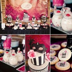 Masquerade party ideas, black, white, and pink Birthday Woman, Adult Birthday Party, 30th Birthday Parties, Birthday Party Themes, Birthday Cake Ideas For Adults Women, 30th Birthday Party Ideas For Women, 40 Birthday, Birthday Decorations, Ball Birthday