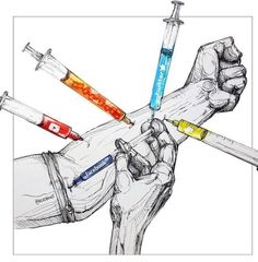 This is another interesting art piece that shows a visual on social media addiction. I like that there is a striking contrast between the gray skin and the colors of the drugs. Satire, Sketch Manga, Social Media Measurement, Social Media Art, Satirical Illustrations, Political Art, Foto Art, Gcse Art, Medium Art