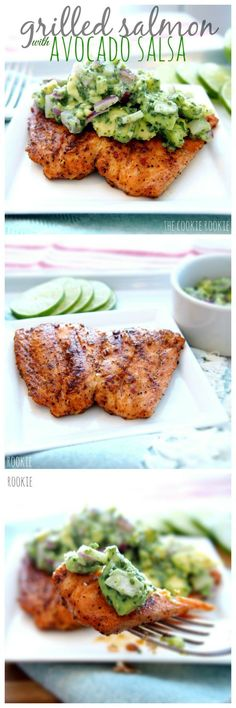 Healthy Avocado Recipes - Grilled Salmon with Avocado Salsa - Easy Clean Eating Recipes for Breakfast, Lunches, Dinner and even Desserts - Low Carb Vegetarian Snacks, Dip, Smothie Ideas and All Sorts (Salmon Recipes Clean Eating) Fish Dishes, Seafood Dishes, Seafood Recipes, Cooking Recipes, Dinner Recipes, Chicken Recipes, Seafood Meals, Lunch Recipes, Cooking Tips