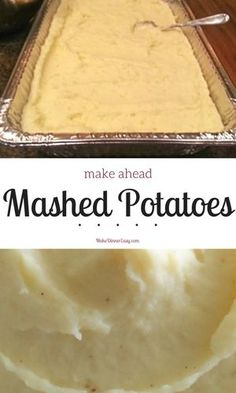 Sometimes I don't have time to make mashed potatoes, or I just don't want to have to fuss with mashing and mixing right before dinner. This make ahead mashed potato recipe solves both problems. It can be made several days ahead and kept in the refrigerator.
