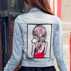 New Spring Autumn denim jacket Women high quality long sleeve Sequins jeans jacket coat oversized outwear chaquetas mujer Painted Jeans, Painted Clothes, Wholesale Denim Jackets, Denim Jacket Embroidery, Denim Art, Denim Ideas, Cute Sweatshirts, Custom Clothes, Outfit