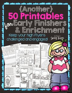 "Keeping your fast finishers and enrichment students just got easier! Never again hear a student say, ""I'm done, what do I do now?"" Although these are easy prep printables for you, they provide more than just fill in the blank busy work for your students. First Grade Math, Second Grade, Grade 3, Fourth Grade, Early Finishers Activities, Enrichment Activities, Gifted Education, Early Education, Education Quotes"
