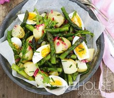 New Potato Salad with Asparagus and Egg - NZ House & Garden Salad Dressing Recipes, Salad Recipes, Snack Recipes, Healthy Recipes, Delicious Recipes, Healthy Food, Snacks, Asparagus Egg, Potato Salad