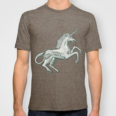Unicorn Horse Prancing Side Etching T-shirt