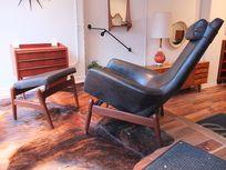 IB Kofod Larsen Rocking Chair w/ Ottoman - RARE - DANISH MODERN - MCM - $16000
