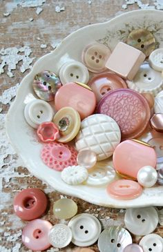 Vintage Pink and White Buttons