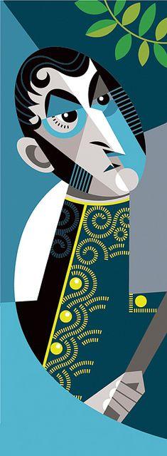 San Martin by Pablo Lobato Create A Comic, Pop Art Illustration, Geometric Poster, Celebrity Caricatures, Art For Art Sake, Portrait Art, Portraits, Funny Art, Art Techniques