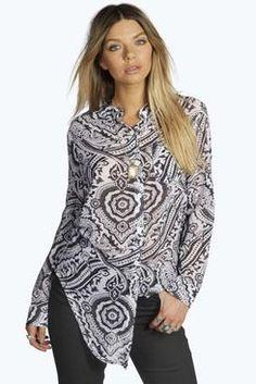 Grace Printed Curved Hem Longline Shirt