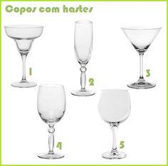 1- Taça de Margarita / 2- Taça de Champanhe / 3- Taça de Martini ou Cosmopolitan / 4- Taça de Água / 5- Taça de Vinho Tinto.
